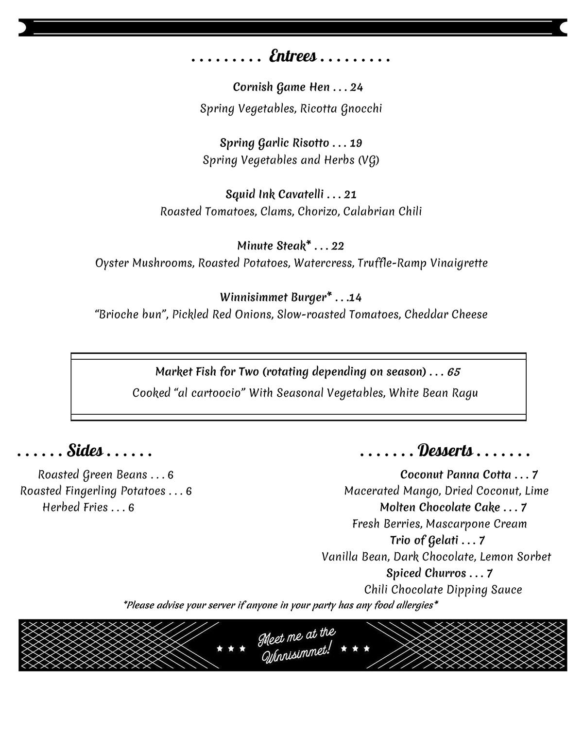 Winnisimmet Lounge menu