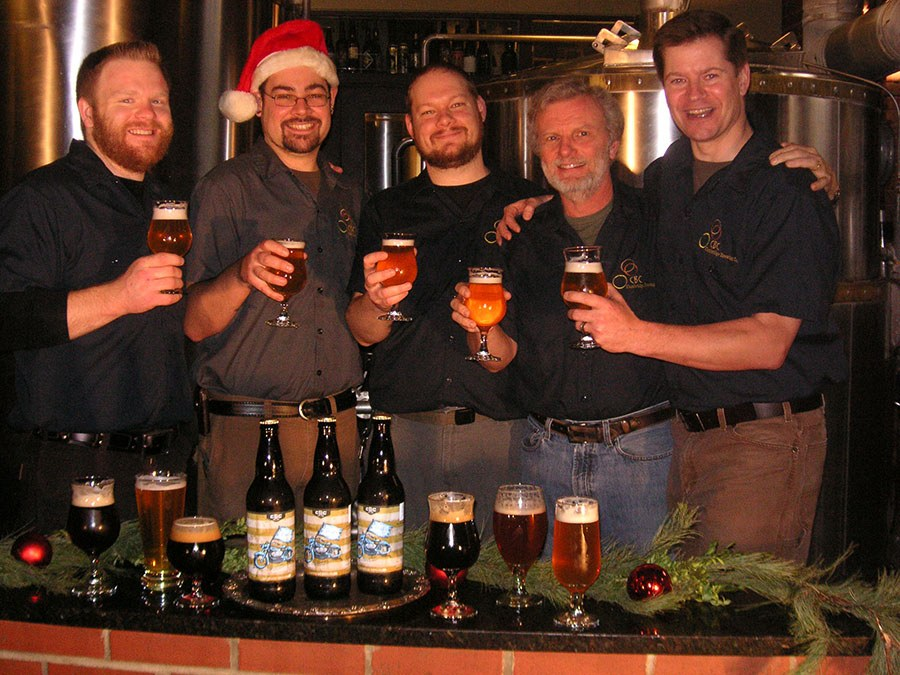 CBC brewers' Christmas card 2011, (L to R) Sean Nolan (Honest Weight), Adrian Beck-Oliver (Hidden Cove Brewing), Jay Sullivan (Honest Weight), Phil Bannatyne, Will Meyers