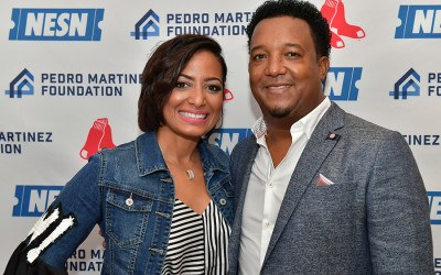 Carolina and Pedro Martinez in Boston for the Pedro Martinez Foundation Feast with 45
