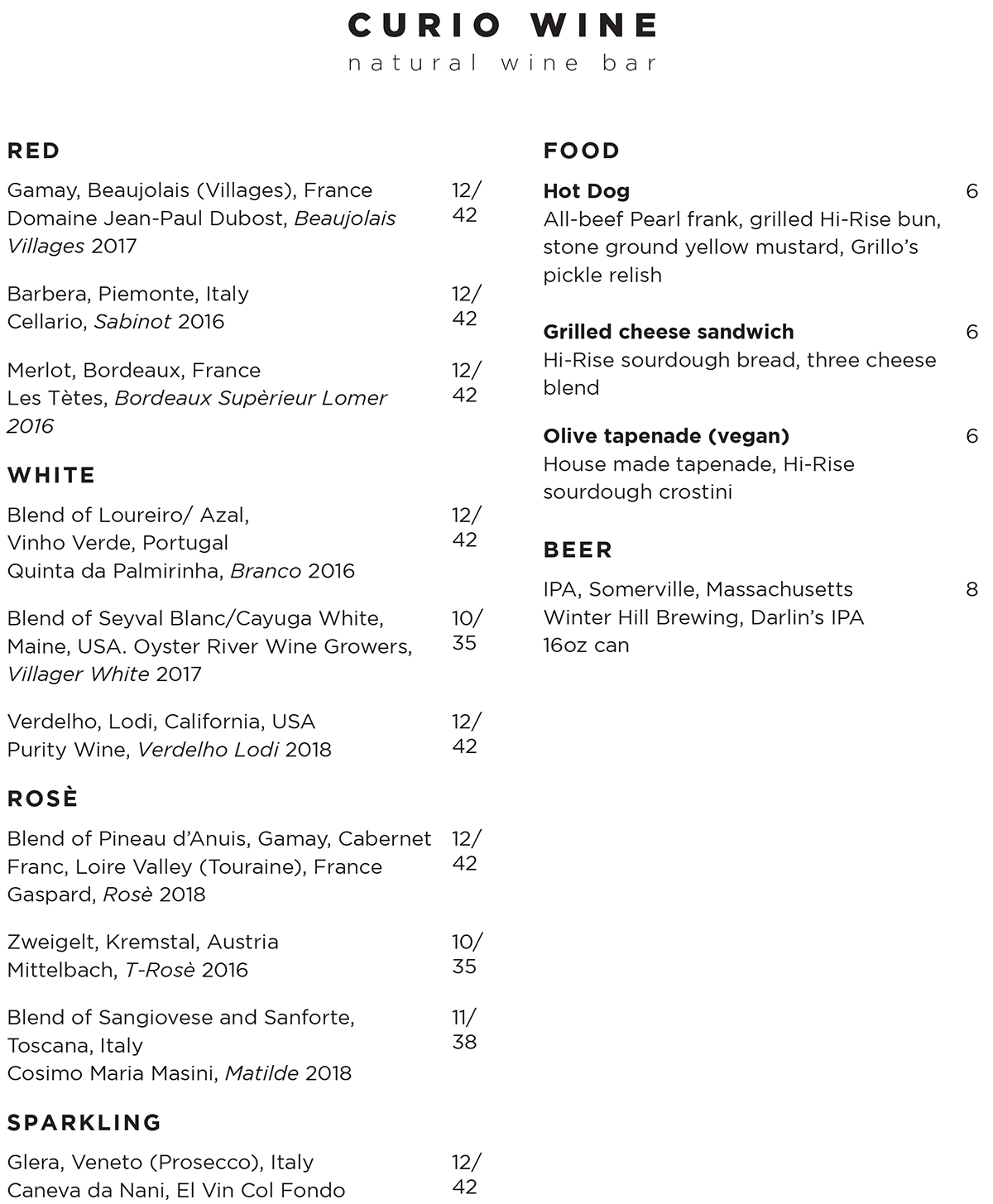 Curio Wine Bar opening menu