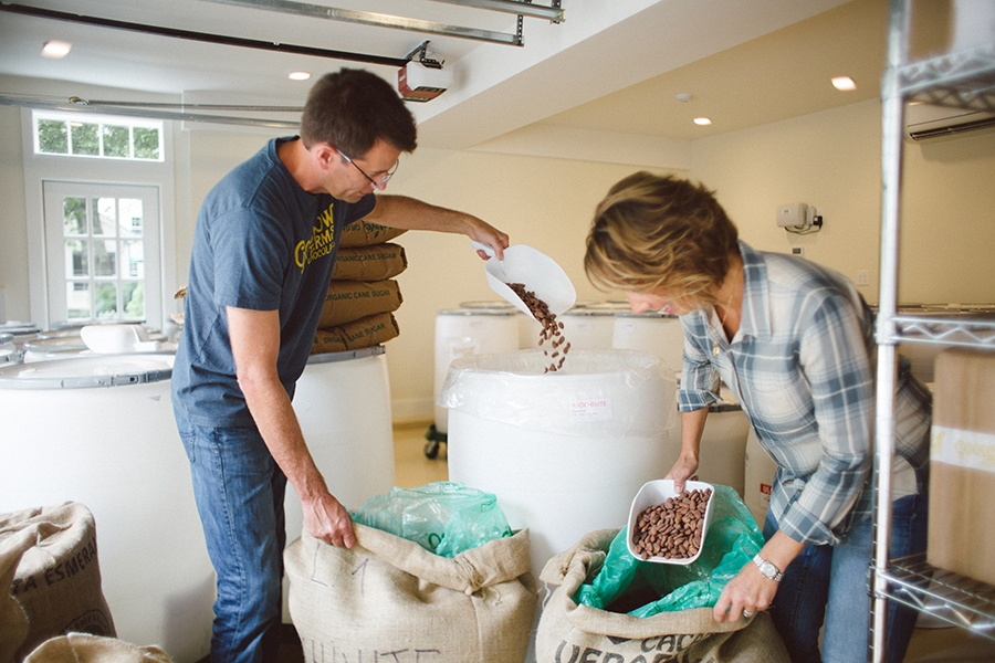Tom and Monica Rogan at the Sudbury chocolate-making facility, Goodnow Farms.