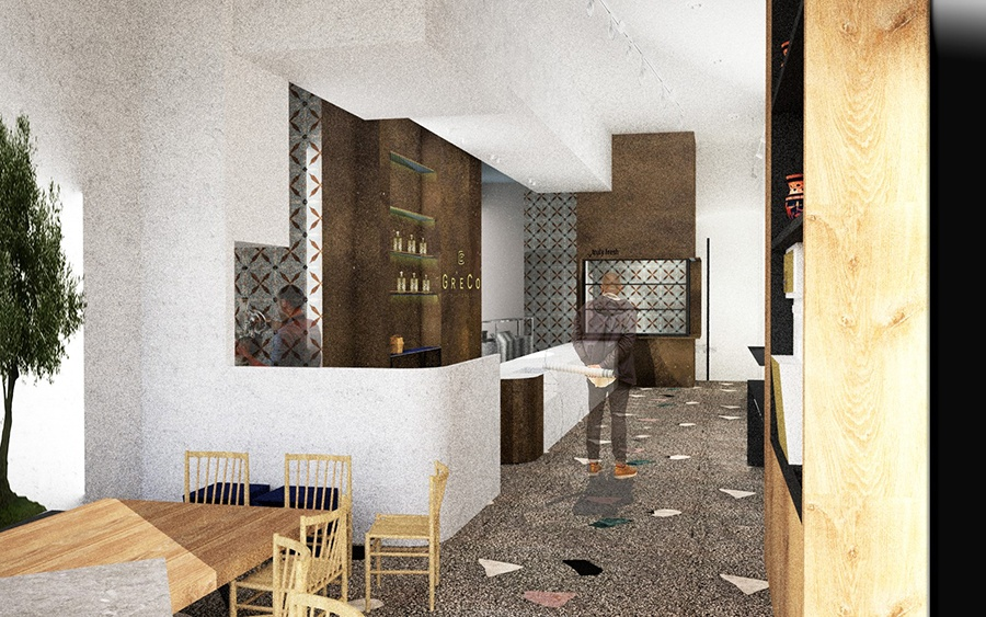 Rendering of the Greco restaurant headed for One Milk Street