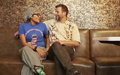Retno Pratiwi and Peter Gelling take a break from a Kaki Lima pop-up at Mamaleh's