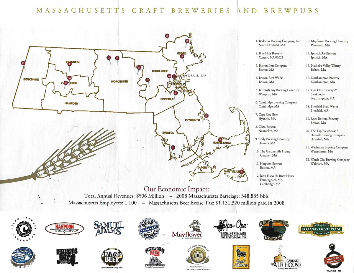 2009 breweries of Massachusetts map courtesy of the Mass Brewers Guild