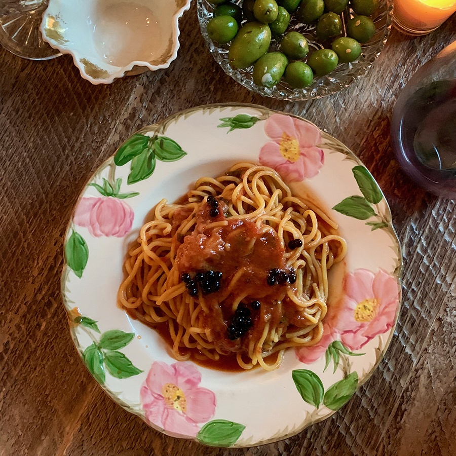 A signature dish at Chef Ronsky's Trattoria is spaghetti with a strawberry-tomato balsamic sauce
