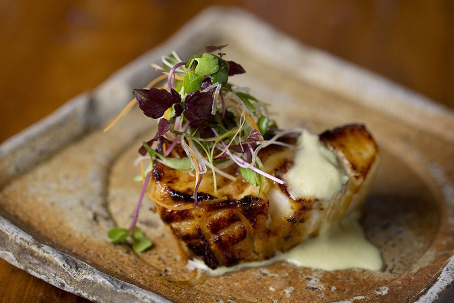 Grilled Chilean sea bass with green chili-ginger dressing at Zuma Boston