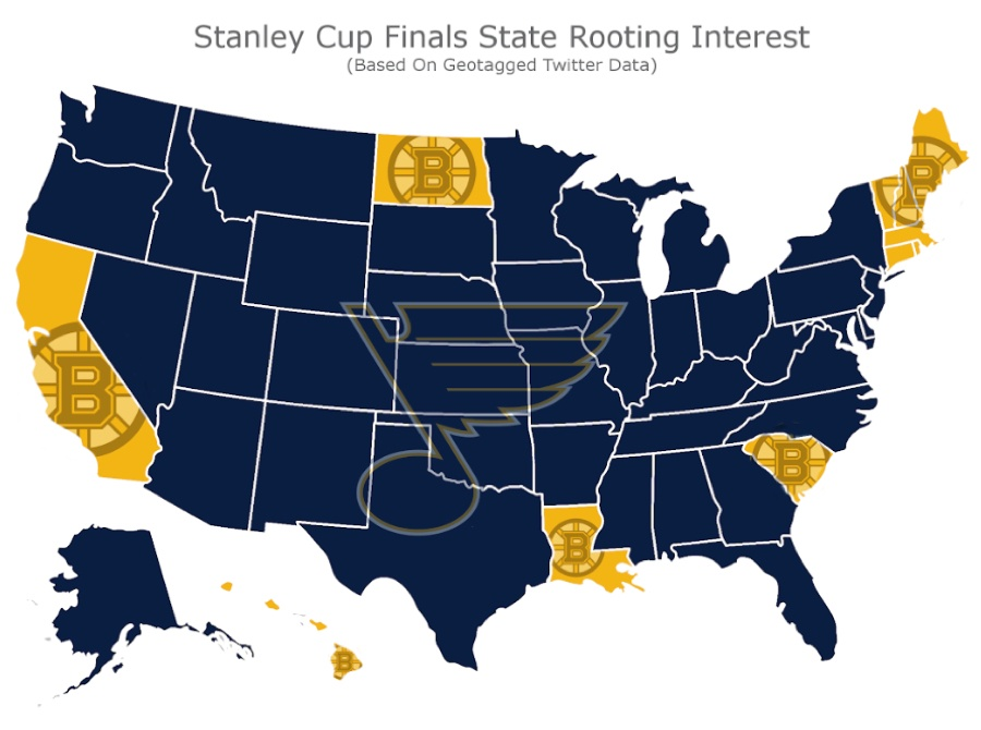 A New Map Shows Basically the Whole Country s the Bruins Us Fan Map Nhl Bruins Vs Blues on