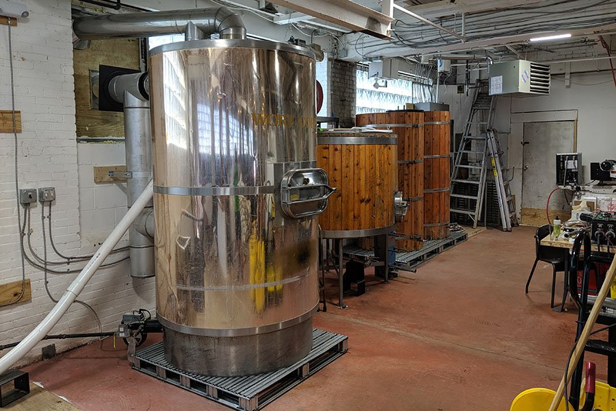 The 10-barrel brewing system at BearMoose Brewing Company