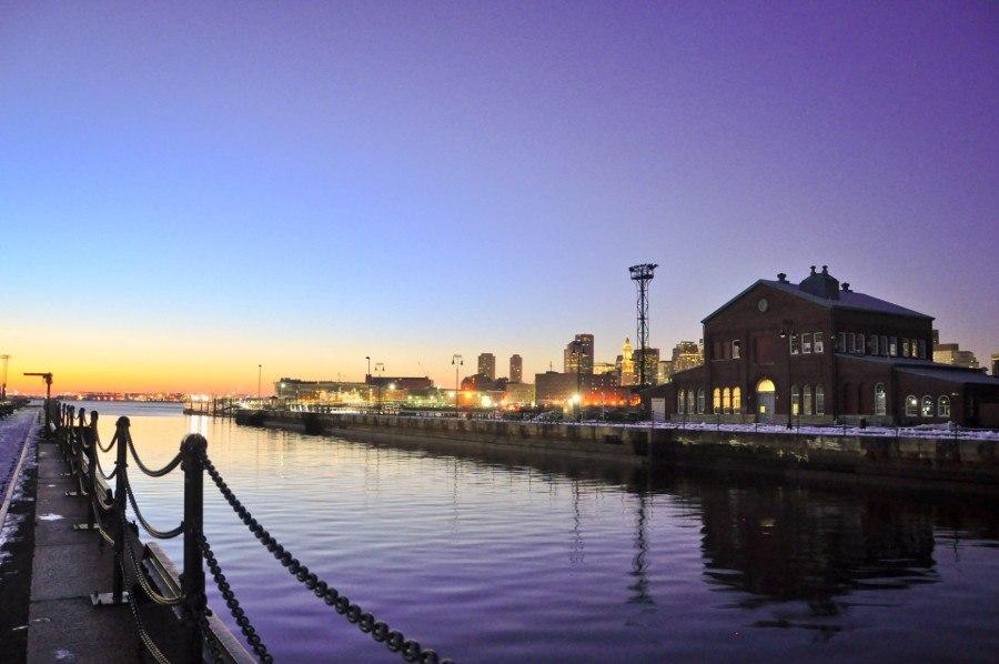 The Charlestown Navy Yard at dusk