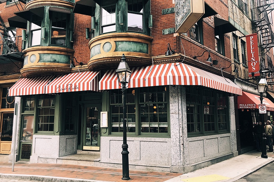 The vintage-looking facade of Ciao Bella on is on an iconic North Square corner
