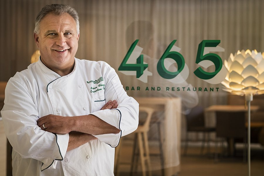 Executive Chef Brian Flagg in the newly renovated 465 Bar and Restaurant at the Museum of Fine Arts, Boston