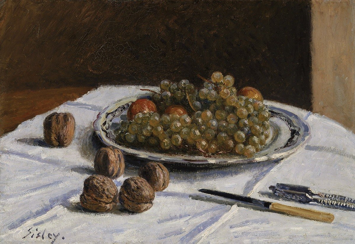 One of the still life paintings on display at 465 Bar and Restaurant at the MFA: Grapes and Walnuts on a Table Alfred Sisley (British (active in France), 1839–1899) 1876 Oil on canvas * Bequest of John T. Spaulding