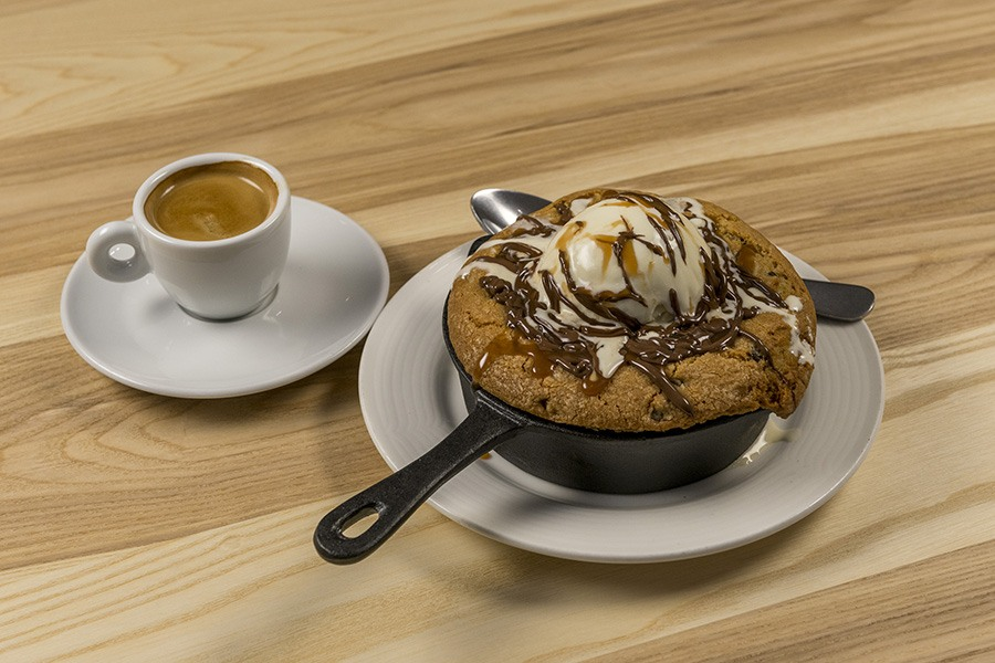 Pan chocolate chip cookie with vanilla ice cream at the newly renovated 465 Bar and Restaurant at the Museum of Fine Arts, Boston