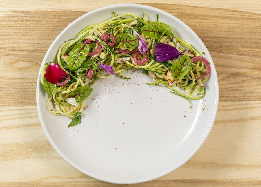 Spiralized zucchini salad at the newly renovated 465 Bar and Restaurant at the Museum of Fine Arts, Boston