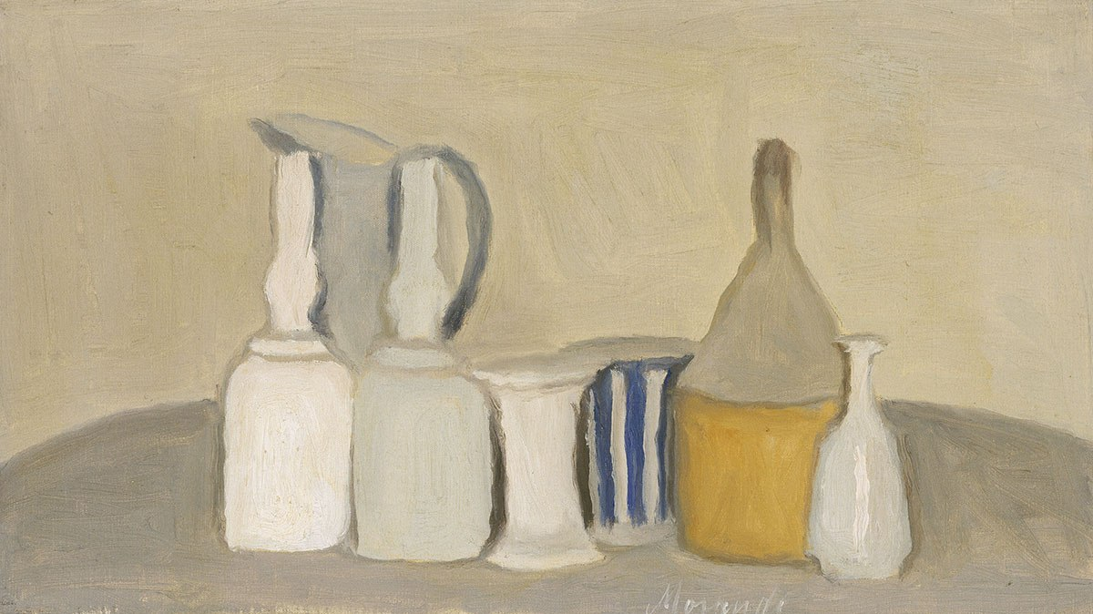One of the paintings on display at 465 Bar and Restaurant at the MFA: Still Life of Bottles and Pitcher Giorgio Morandi (Italian, 1890–1964) 1946 Oil on canvas * Tompkins Collection—Arthur Gordon Tompkins Fund © 2011 Artists Rights Society (ARS), New York/SIAE, Rome. * Photograph © Museum of Fine Arts, Boston