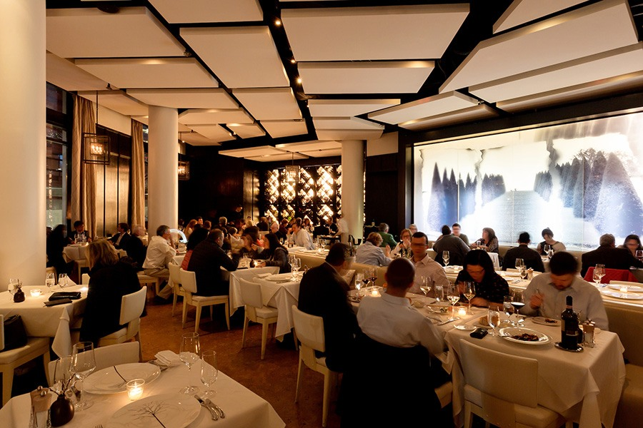 The chic dining room at Sorellina.