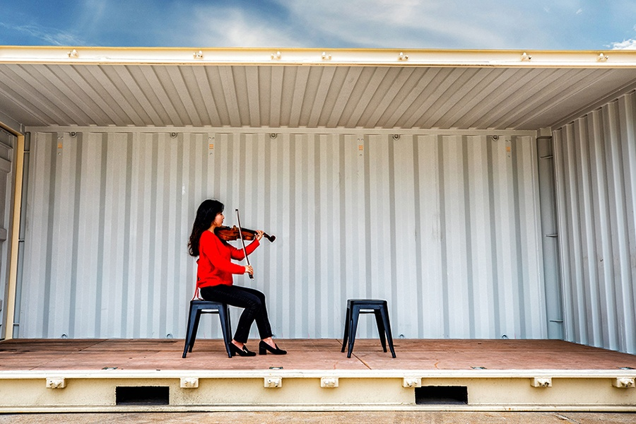 performer in shipping container