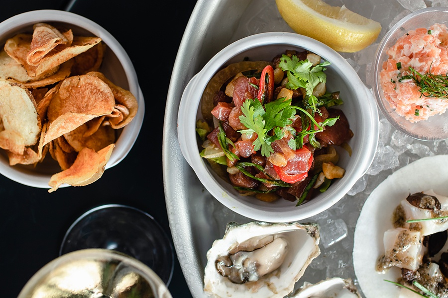Tuna poke, fresh oysters, and more raw bar offerings are on the weekend brunch menu at Black Lamb