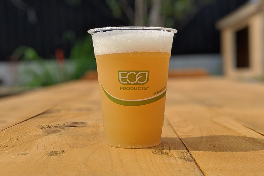 Exhibit 'A' Brewing Co. has a partnership with Black Earth Composting to properly dispose of all the eco-friendly cups they'll serve at their Framingham beer garden