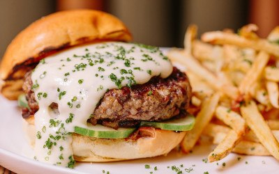 The Emory burger with garlic cheddar fondue
