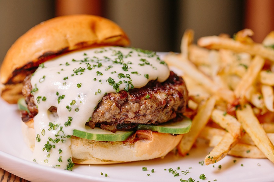The Emory burger with garlic cheddar fondue