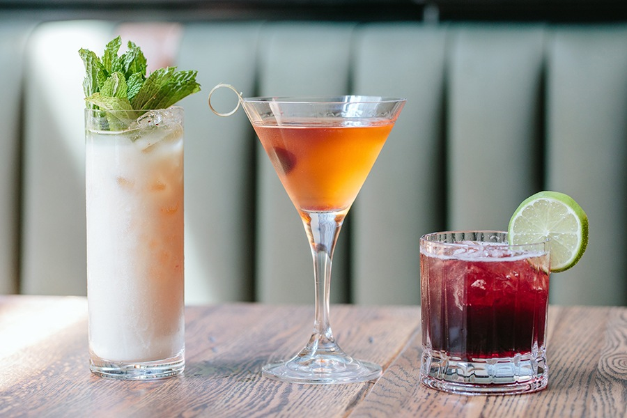 Cocktails at the Emory (L to R) Shine On, rye Manhattan, Sgt. Pepper
