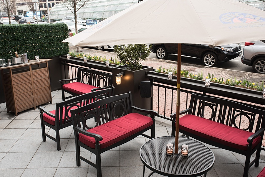 the Hawthorne's cozy patio in Kenmore Square