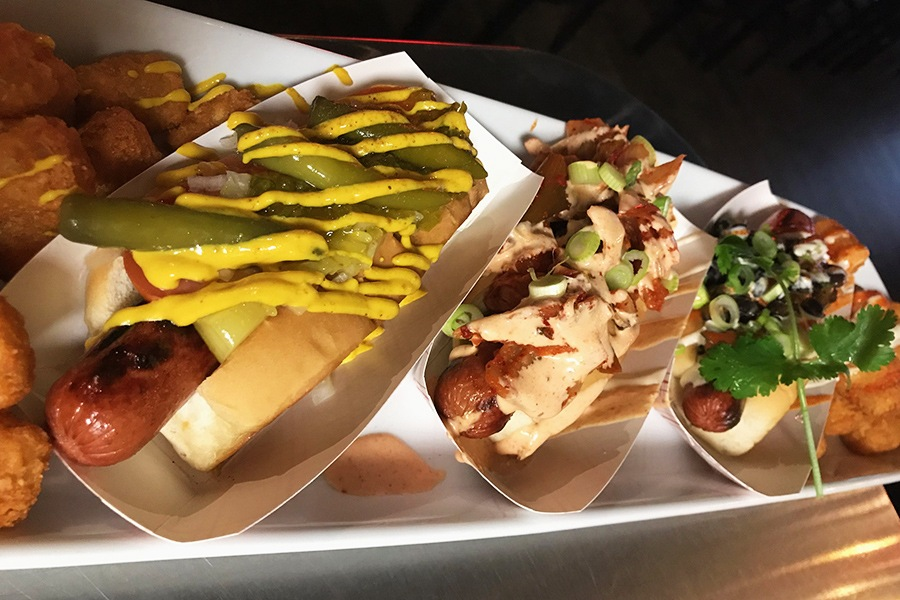 "Hot dog lovers can have it all by ordering ""the Mutt,"" a frank sampler, at Bukowski in Cambridge"