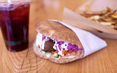 Clover's classic chickpea fritter sandwich