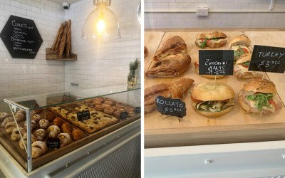 The display cases at the North End's Dolce are full of pastries, sandwiches, and more