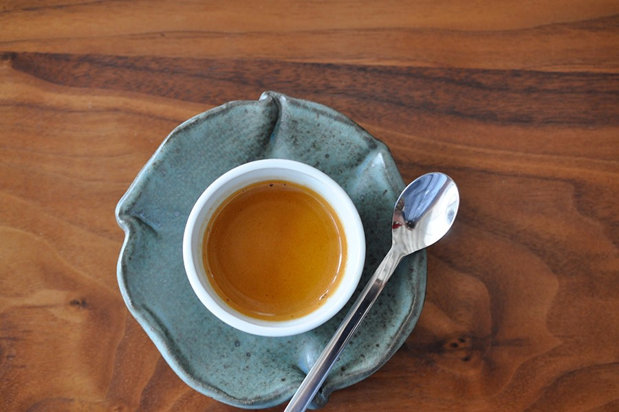 espresso on the olive counter at Gracenote Coffee Bar in Boston