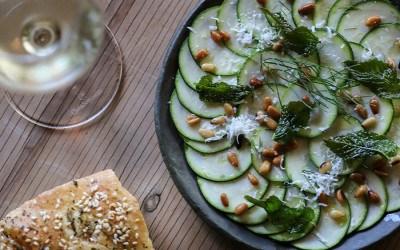 A menu preview for Krasi: zucchini carpaccio
