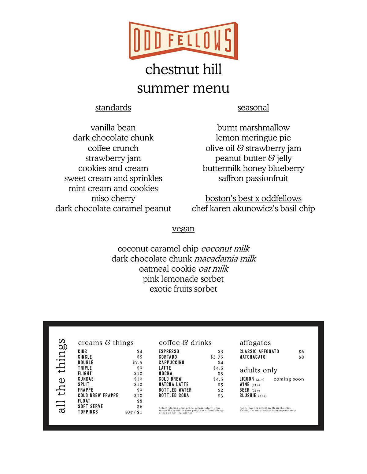 OddFellows Ice Cream menu Boston