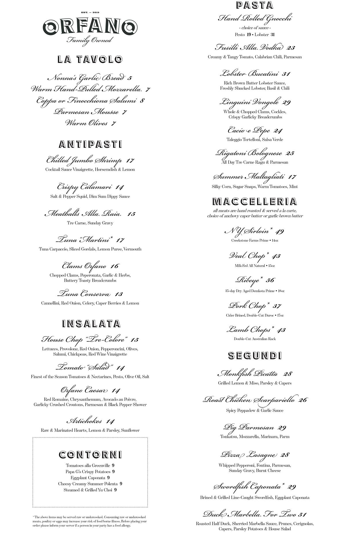 Orfano menu