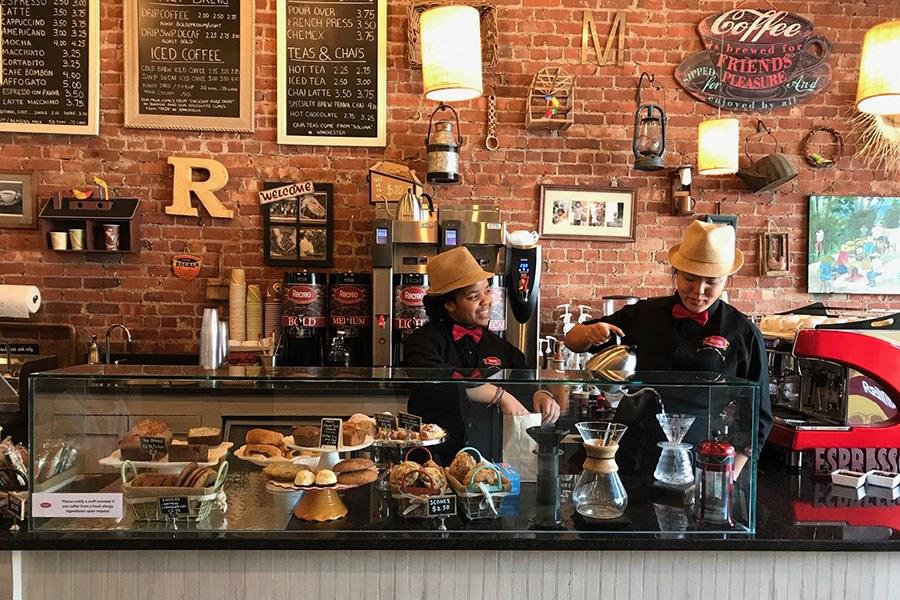 The busy bar at Recreo Coffee W Roxbury