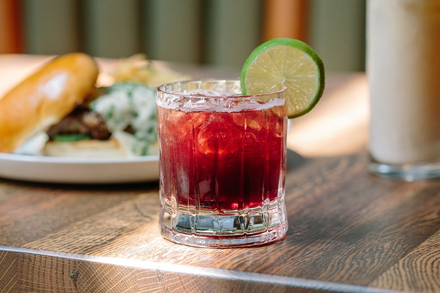 the Sgt. Pepper at the Emory, made with Bribón Tequila and blackberry-black pepper syrup