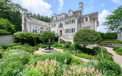 Sudbury Federal stone-front manor with sunken garden