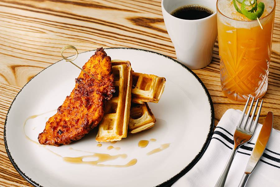 chicken and waffles from the Brunch menu at Banners Kitchen & Tap