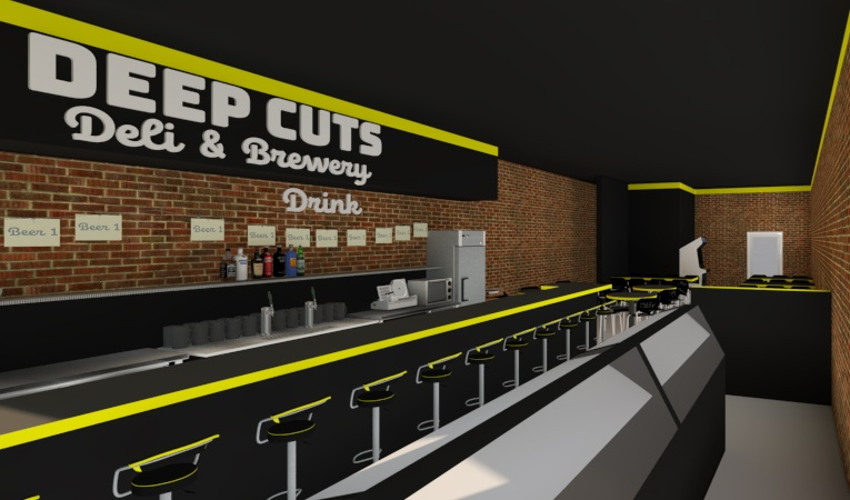 This early rendering by Deep Cuts Deli partner, brewer, and architect Jeff Wetzel envisions the bar in a to-be-announced Somerville location