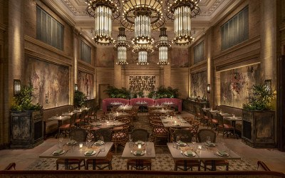 The dining room at Mariel boasts 23-foot ceilings