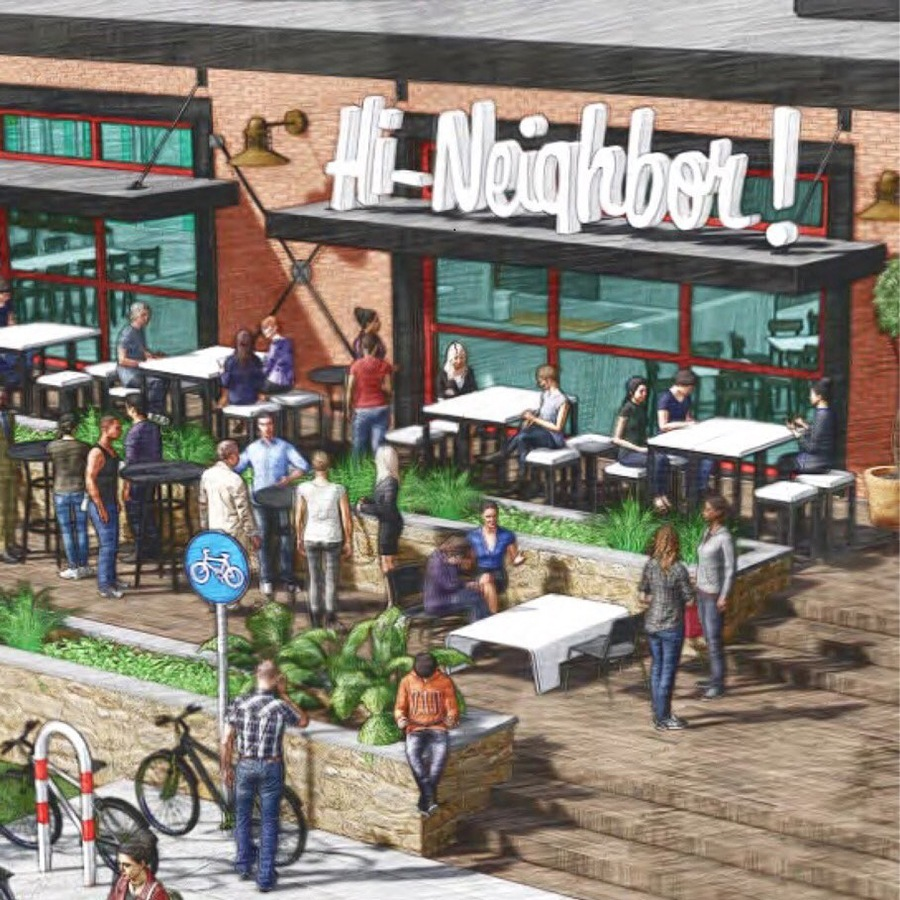A rendering of Narragansett's future brewery and taproom in the Fox Point neighborhood of Providence