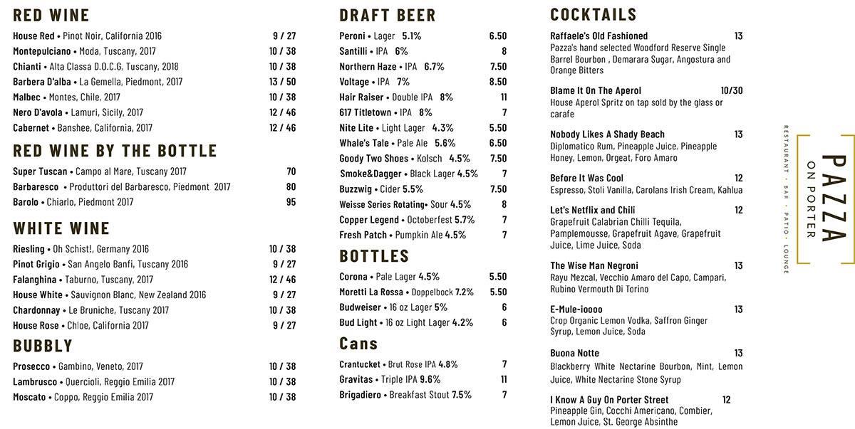 Pazza on Porter drinks menu