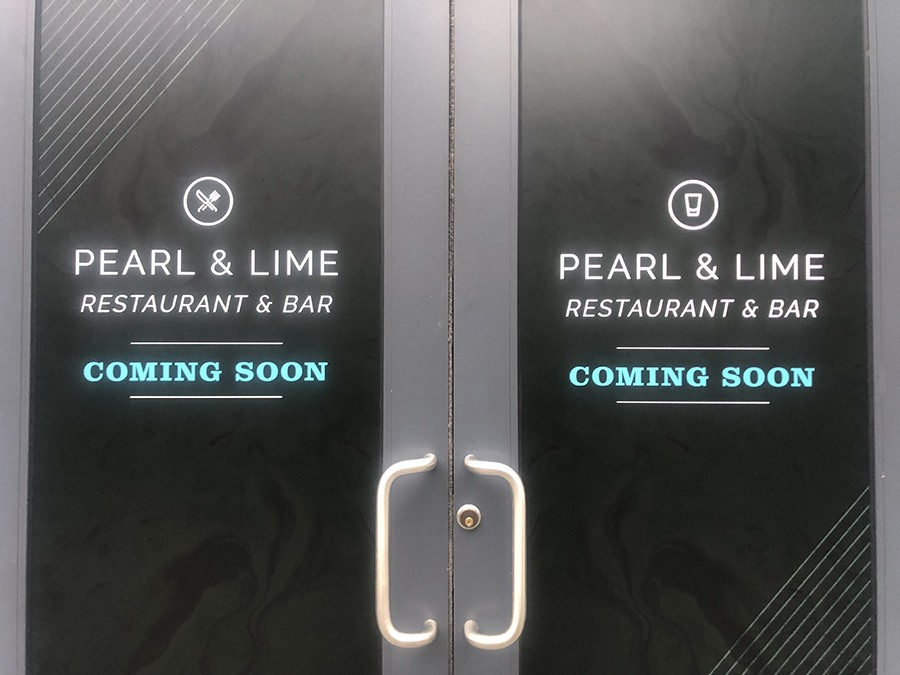 Pearl & Lime signage at the under-construction Quincy Center cocktail bar