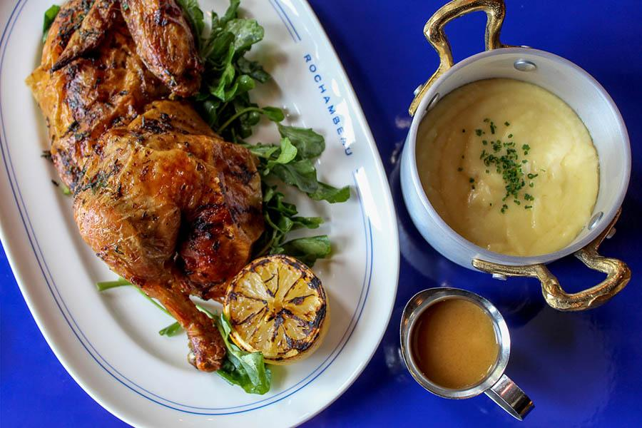 Rotisserie chicken from the forthcoming all-day menu at Rochambeau