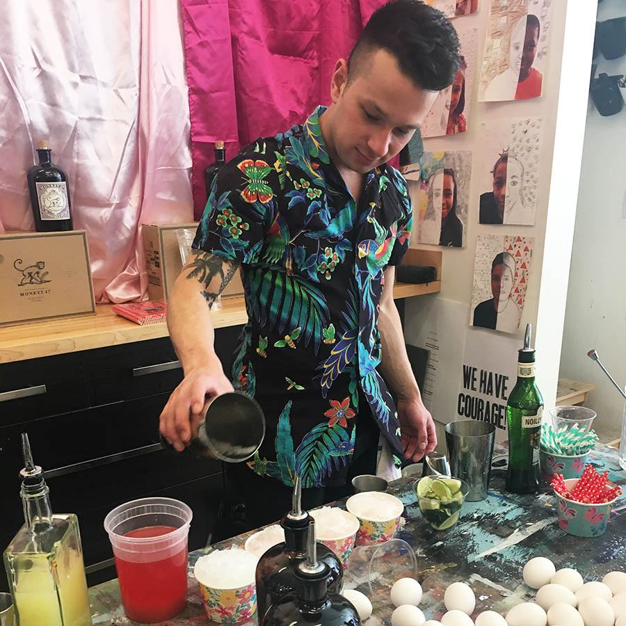 Sebastian Cañas makes fun cocktails at a spring-themed East Boston Oysters pop-up
