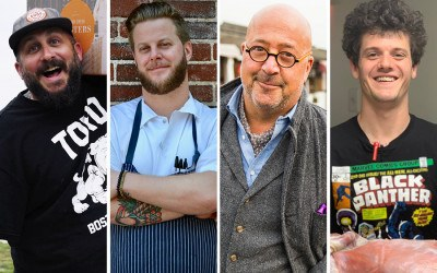 "(L to R) Island Creek Oysters' Bill Weiss, Toro chef Josh Elliott, Travel Channel star Andrew Zimmern, and Brassica co-chef Jeremy Kean will participate in Boston's first ""Clear and Present"" sober dinner this fall"
