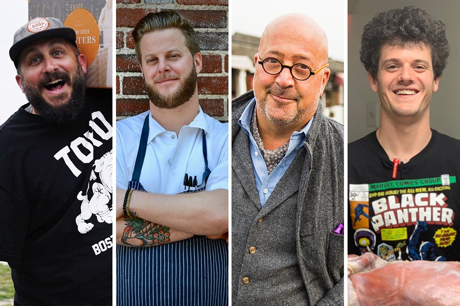 """(L to R) Island Creek Oysters' Bill Weiss, Toro chef Josh Elliott, Travel Channel star Andrew Zimmern, and Brassica co-chef Jeremy Kean will participate in Boston's first """"Clear and Present"""" sober dinner this fall"""