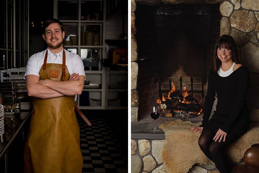 Chef Charlie Foster and owner Kristin Canty at Concord's Woods Hill Table