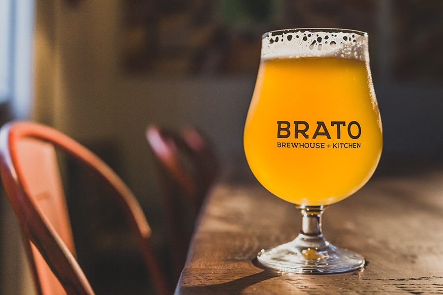 A fresh beer sits on the bar at Brato Brewhouse in Brighton