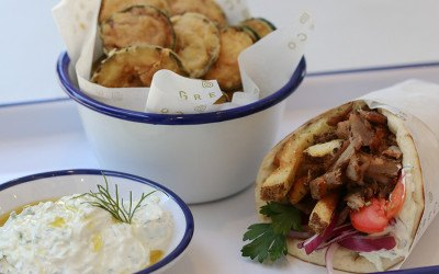 Zucchini chips with tzaziki, gyro, and more from Greco will be available inside Hub Hall when the North End-adjacent food hall opens this winter